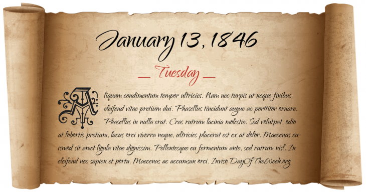 Tuesday January 13, 1846