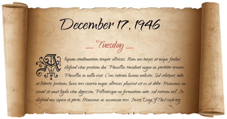 Tuesday December 17, 1946