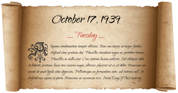 Tuesday October 17, 1939