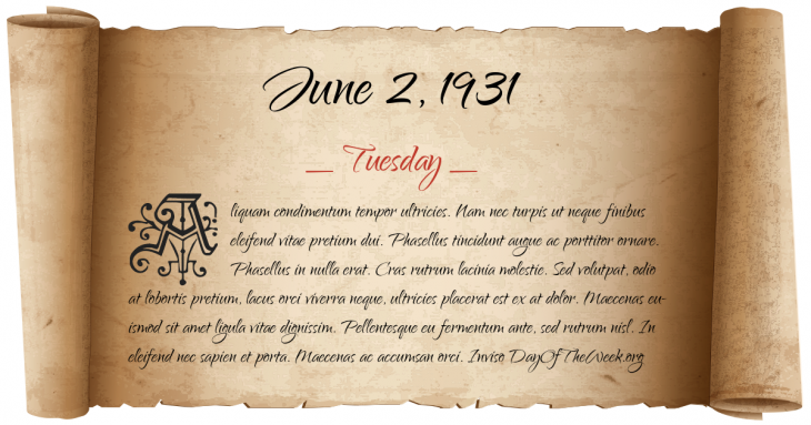 Tuesday June 2, 1931