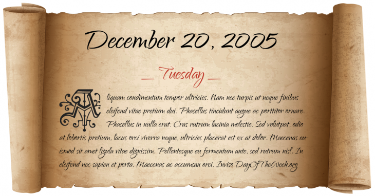 Tuesday December 20, 2005
