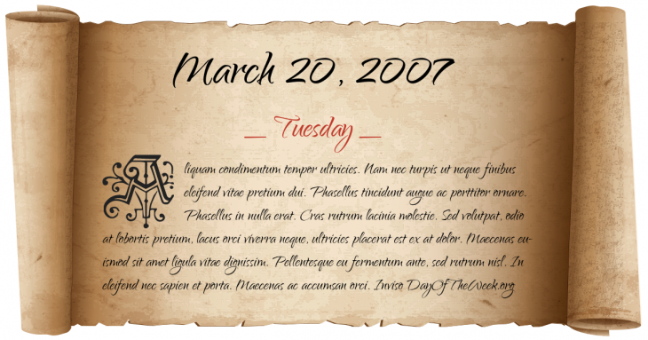 Tuesday March 20, 2007