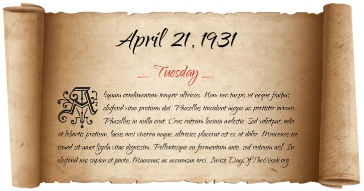 Tuesday April 21, 1931