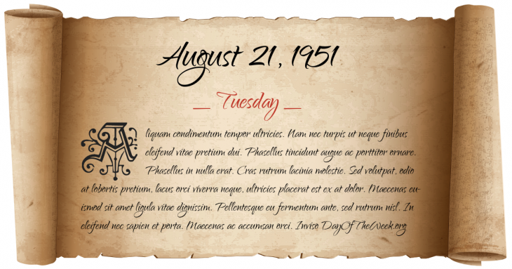 Tuesday August 21, 1951