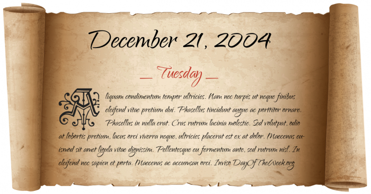 Tuesday December 21, 2004