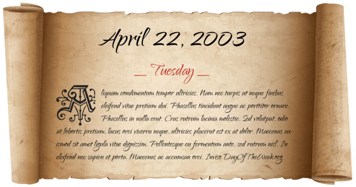 Tuesday April 22, 2003