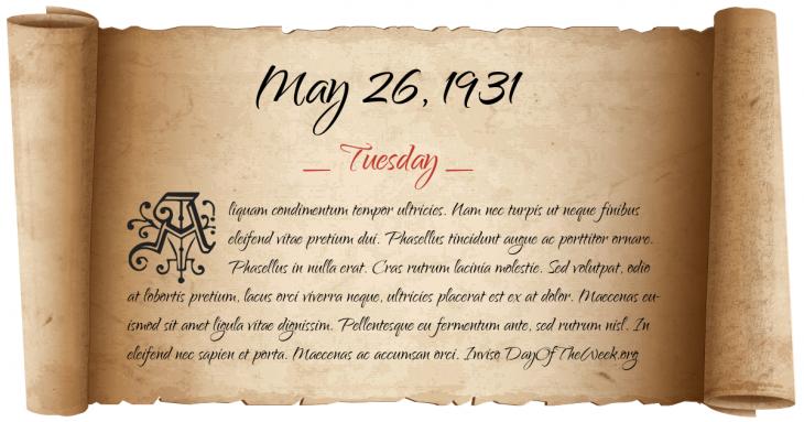 Tuesday May 26, 1931