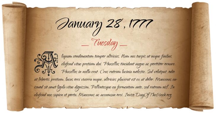 Tuesday January 28, 1777
