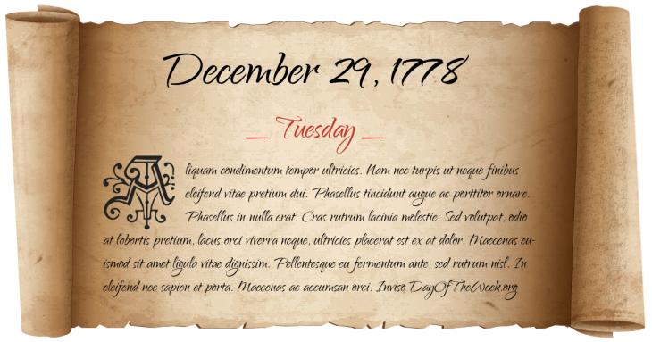 Tuesday December 29, 1778
