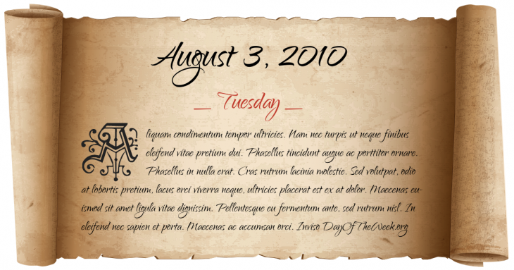 Tuesday August 3, 2010