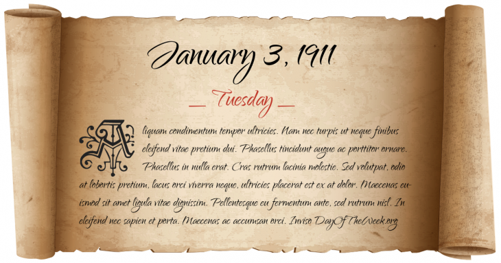 Tuesday January 3, 1911