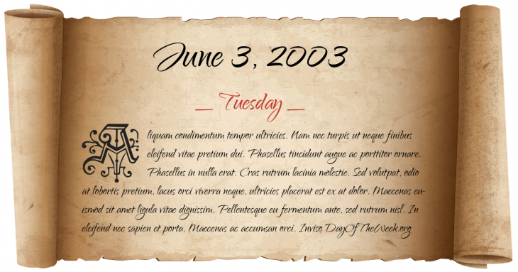 Tuesday June 3, 2003
