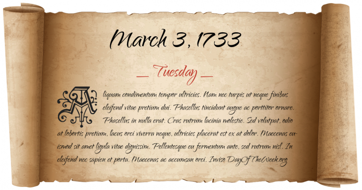Tuesday March 3, 1733