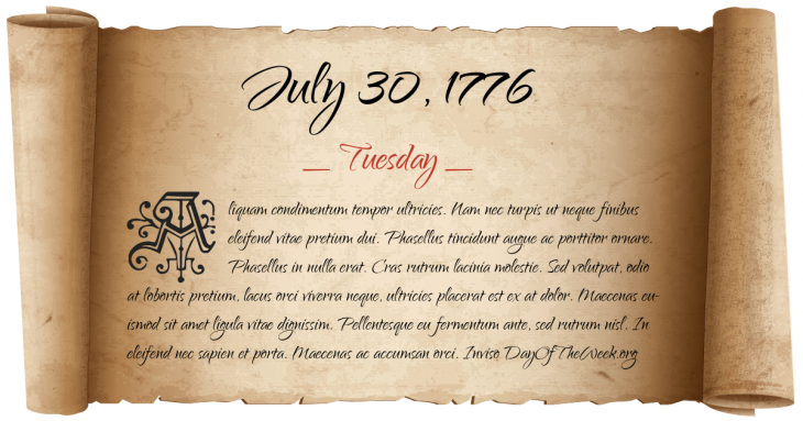 Tuesday July 30, 1776