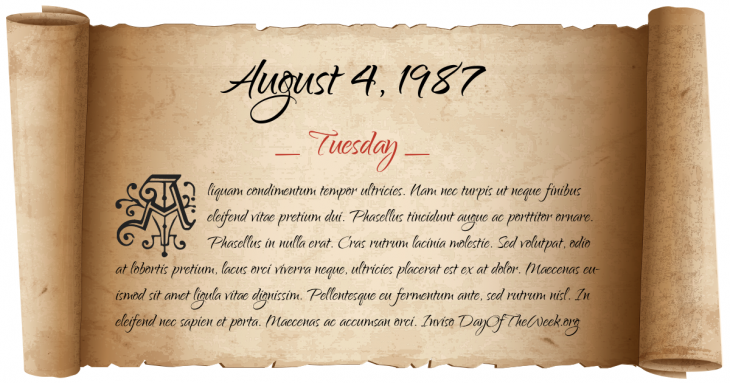 Tuesday August 4, 1987
