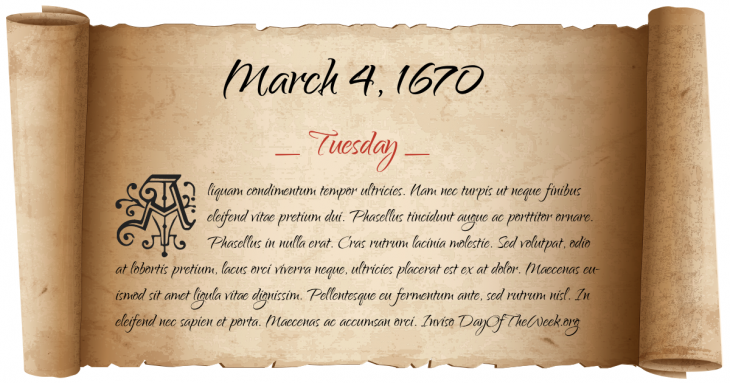 Tuesday March 4, 1670