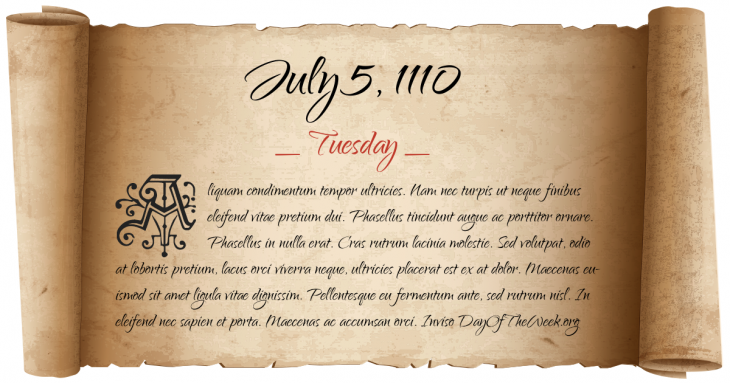 Tuesday July 5, 1110