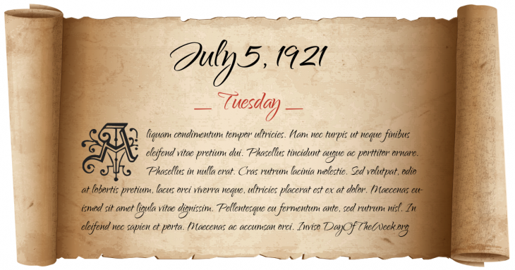 Tuesday July 5, 1921