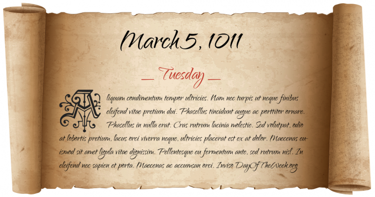Tuesday March 5, 1011