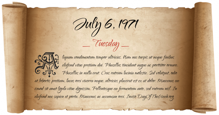 Tuesday July 6, 1971