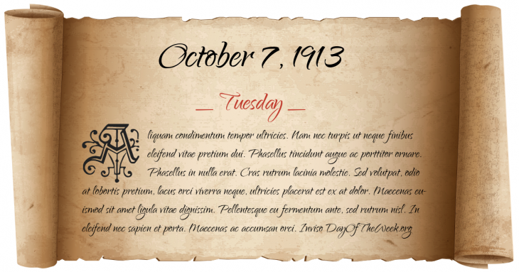 Tuesday October 7, 1913