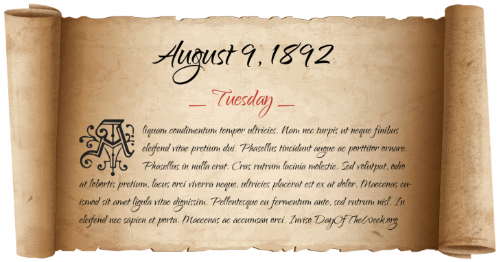 Tuesday August 9, 1892