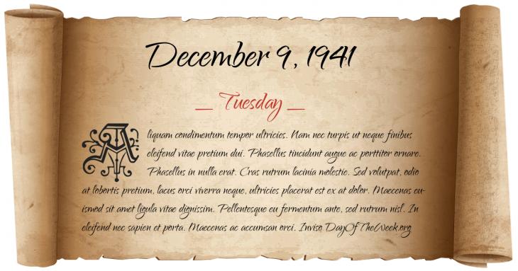 Tuesday December 9, 1941