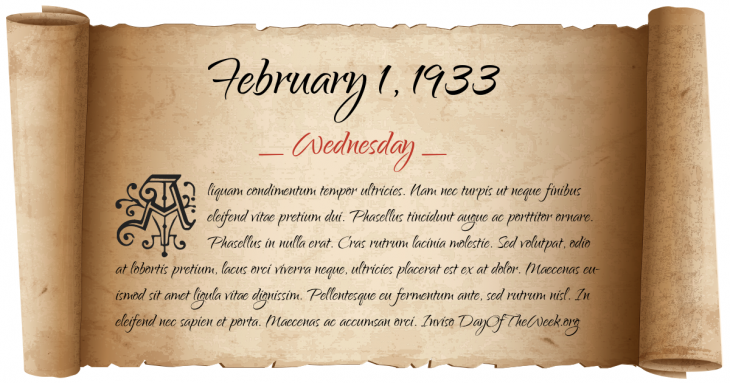 Wednesday February 1, 1933