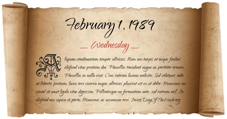 Wednesday February 1, 1989
