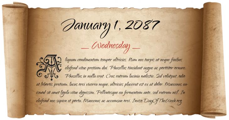 Wednesday January 1, 2087