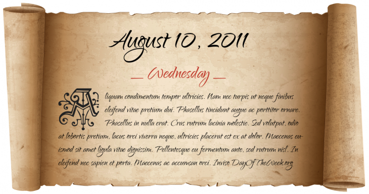 Wednesday August 10, 2011