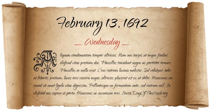Wednesday February 13, 1692