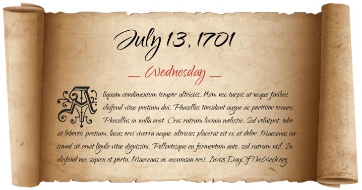 Wednesday July 13, 1701