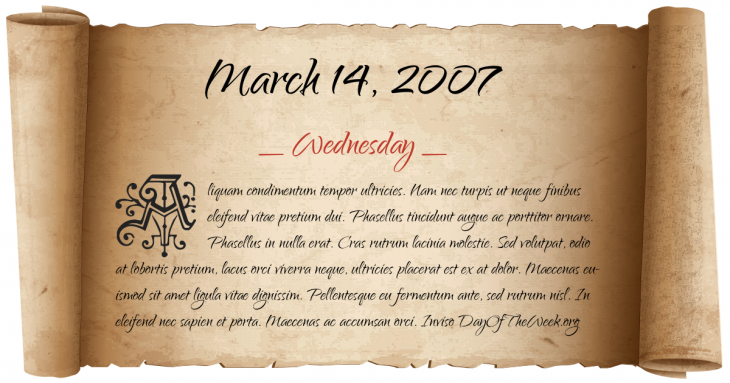 Wednesday March 14, 2007