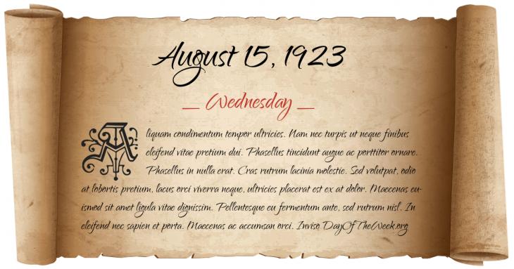 Wednesday August 15, 1923