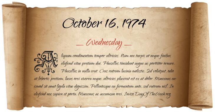 Wednesday October 16, 1974