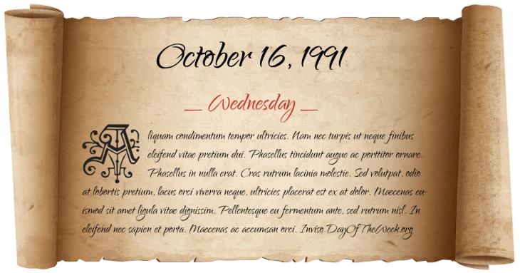 Wednesday October 16, 1991