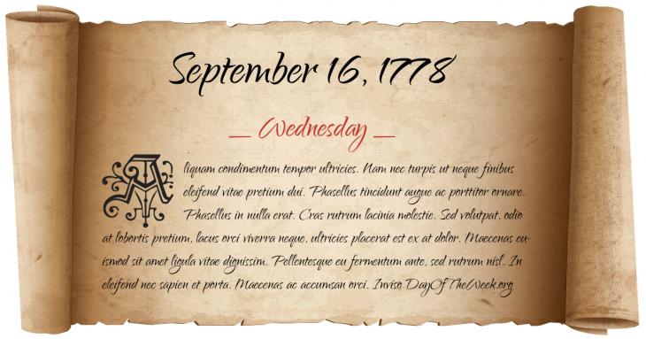 Wednesday September 16, 1778