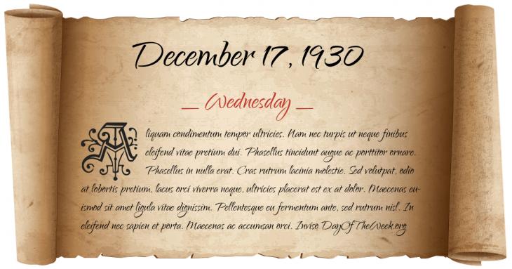 Wednesday December 17, 1930