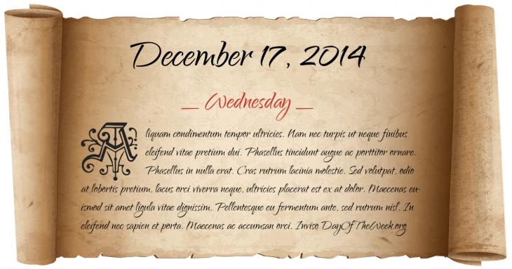 Wednesday December 17, 2014