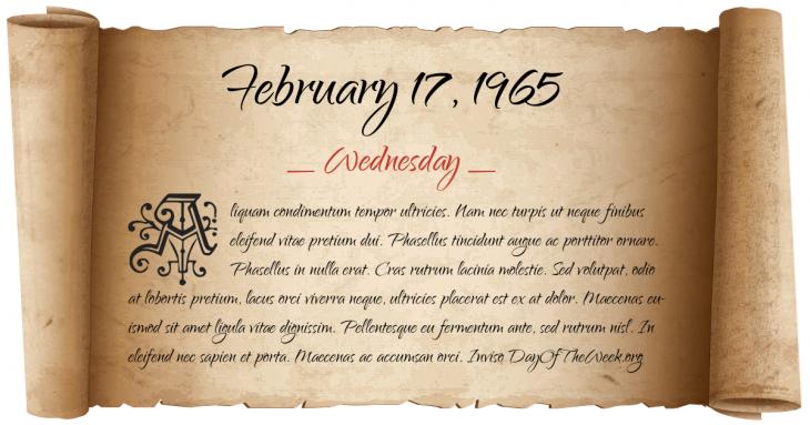 Wednesday February 17, 1965