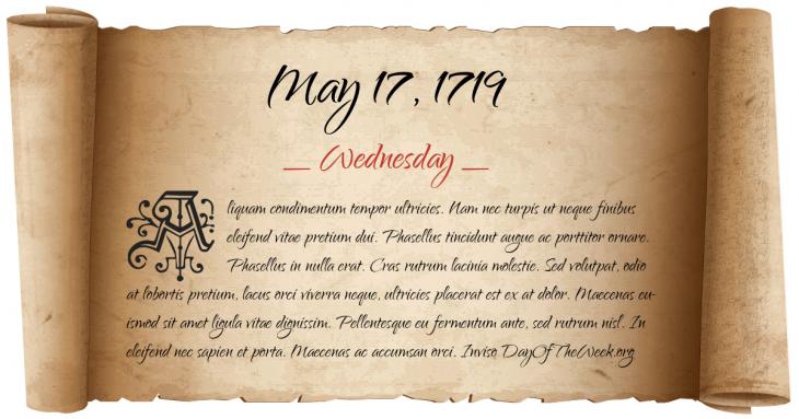 Wednesday May 17, 1719