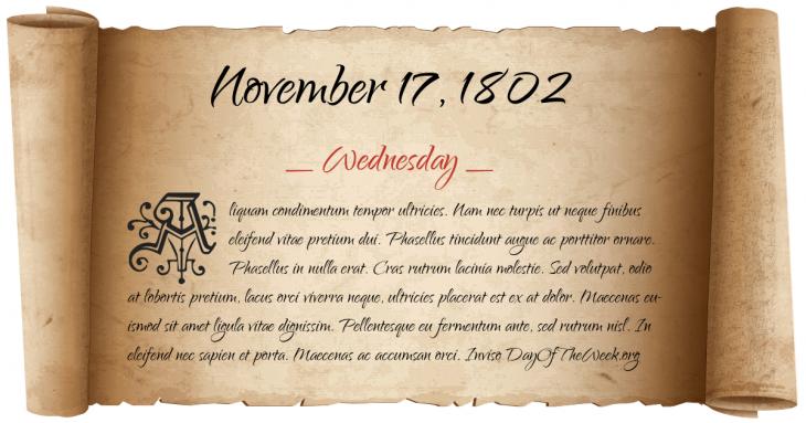Wednesday November 17, 1802