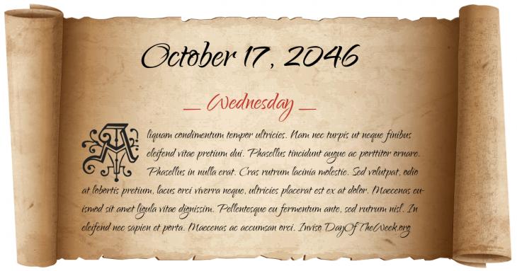 Wednesday October 17, 2046