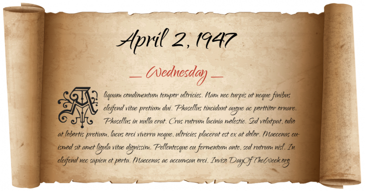 Wednesday April 2, 1947