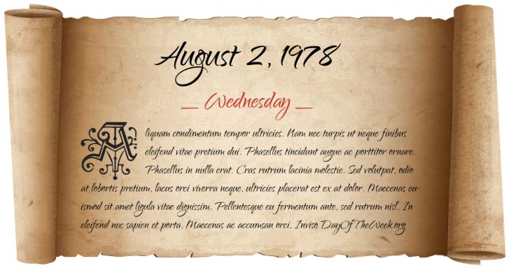 Wednesday August 2, 1978