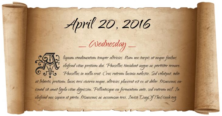 Wednesday April 20, 2016