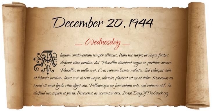 Wednesday December 20, 1944