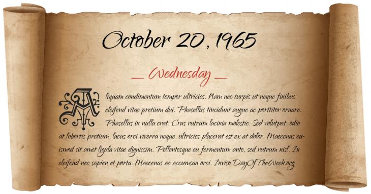 Wednesday October 20, 1965