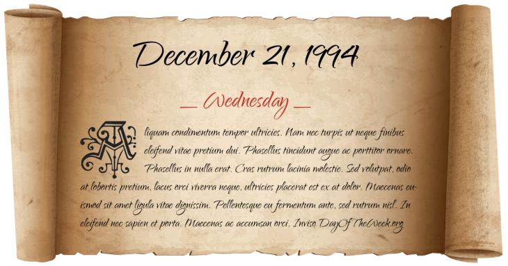 Wednesday December 21, 1994